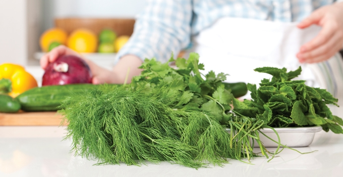 Chef Melissa Gellert using Dill, Mint and Cilantro